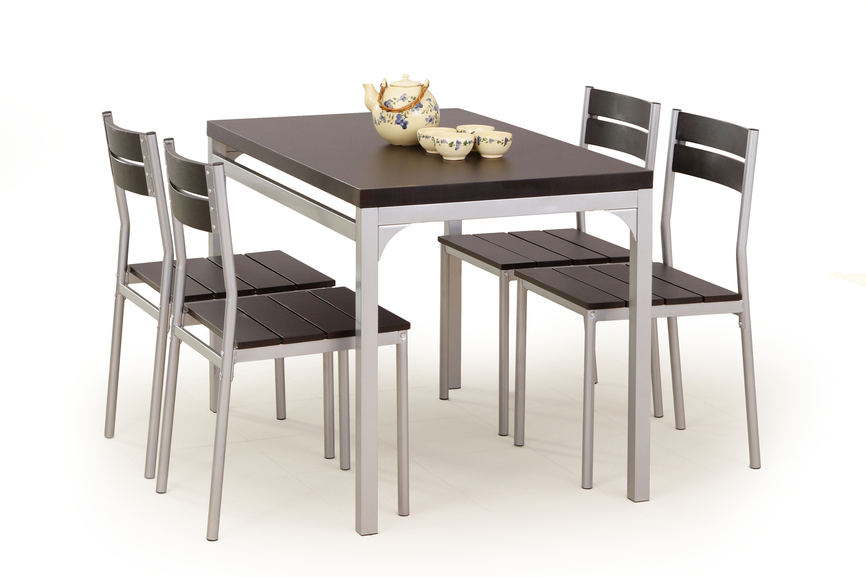 MALCOLM table + 4 chairs color: wenge