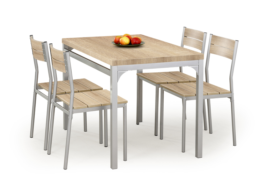 MALCOLM table + 4 chairs color: sonoma oak
