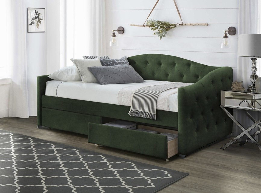 ALOHA bed with drawers, color|: dark green