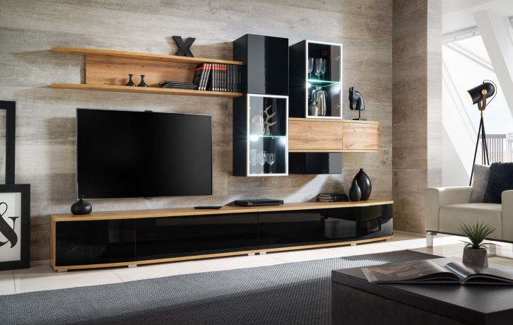 Sekcija Glossy Furniture 1 WOTAN-BLACK MAT / GLOSS + LED