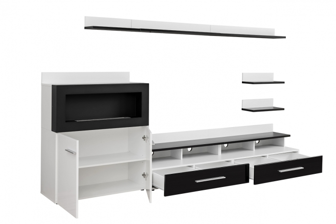 Sekcija Glossy Furniture 9 BALTS ar MELNO